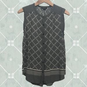 Lucky Brand Sleeveless Button Down Print Tunic M